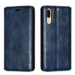 Retro Slim Magnetic Crazy Horse PU Leather Wallet Case for Huawei P20 - Blue