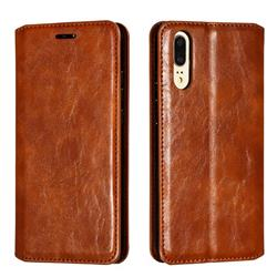 Retro Slim Magnetic Crazy Horse PU Leather Wallet Case for Huawei P20 - Brown