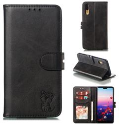 Embossing Happy Cat Leather Wallet Case for Huawei P20 - Black
