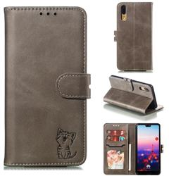 Embossing Happy Cat Leather Wallet Case for Huawei P20 - Gray
