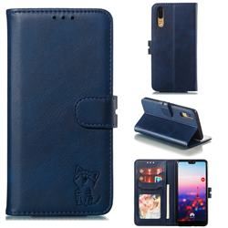 Embossing Happy Cat Leather Wallet Case for Huawei P20 - Blue