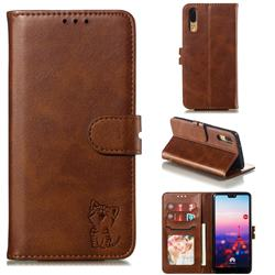 Embossing Happy Cat Leather Wallet Case for Huawei P20 - Brown