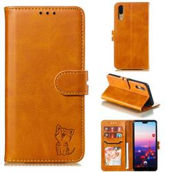 Embossing Happy Cat Leather Wallet Case for Huawei P20 - Yellow