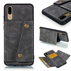 Retro Multifunction Card Slots Stand Leather Coated Phone Back Cover for Huawei P20 - Gray