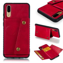 Retro Multifunction Card Slots Stand Leather Coated Phone Back Cover for Huawei P20 - Red
