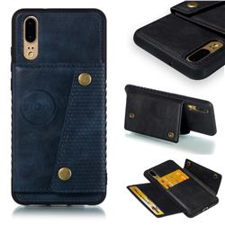 Retro Multifunction Card Slots Stand Leather Coated Phone Back Cover for Huawei P20 - Blue