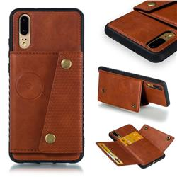 Retro Multifunction Card Slots Stand Leather Coated Phone Back Cover for Huawei P20 - Brown