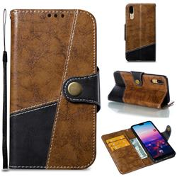 Retro Magnetic Stitching Wallet Flip Cover for Huawei P20 - Brown
