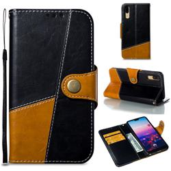 Retro Magnetic Stitching Wallet Flip Cover for Huawei P20 - Black