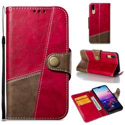 Retro Magnetic Stitching Wallet Flip Cover for Huawei P20 - Rose Red