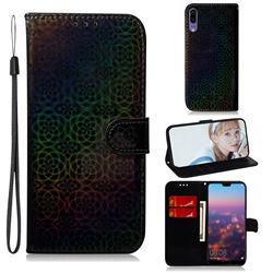 Laser Circle Shining Leather Wallet Phone Case for Huawei P20 - Black