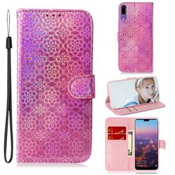 Laser Circle Shining Leather Wallet Phone Case for Huawei P20 - Pink