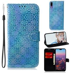 Laser Circle Shining Leather Wallet Phone Case for Huawei P20 - Blue