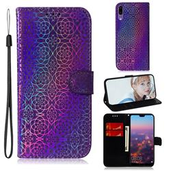Laser Circle Shining Leather Wallet Phone Case for Huawei P20 - Purple