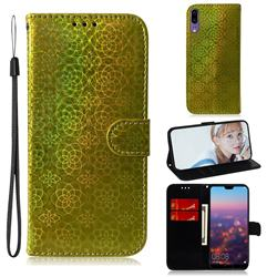 Laser Circle Shining Leather Wallet Phone Case for Huawei P20 - Golden
