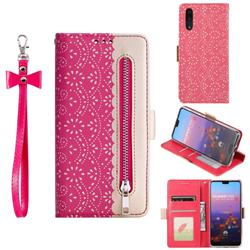 Luxury Lace Zipper Stitching Leather Phone Wallet Case for Huawei P20 - Rose