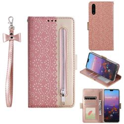 Luxury Lace Zipper Stitching Leather Phone Wallet Case for Huawei P20 - Pink