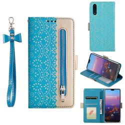 Luxury Lace Zipper Stitching Leather Phone Wallet Case for Huawei P20 - Blue