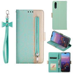 Luxury Lace Zipper Stitching Leather Phone Wallet Case for Huawei P20 - Green