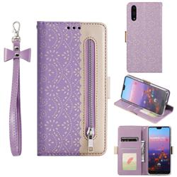 Luxury Lace Zipper Stitching Leather Phone Wallet Case for Huawei P20 - Purple