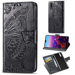 Embossing Mandala Flower Butterfly Leather Wallet Case for Huawei P20 - Black