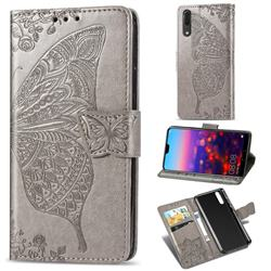 Embossing Mandala Flower Butterfly Leather Wallet Case for Huawei P20 - Gray