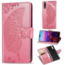 Embossing Mandala Flower Butterfly Leather Wallet Case for Huawei P20 - Pink