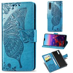 Embossing Mandala Flower Butterfly Leather Wallet Case for Huawei P20 - Blue