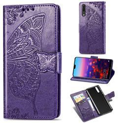 Embossing Mandala Flower Butterfly Leather Wallet Case for Huawei P20 - Dark Purple