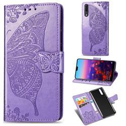 Embossing Mandala Flower Butterfly Leather Wallet Case for Huawei P20 - Light Purple