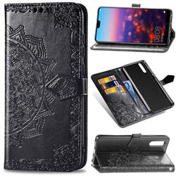 Embossing Imprint Mandala Flower Leather Wallet Case for Huawei P20 - Black