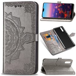 Embossing Imprint Mandala Flower Leather Wallet Case for Huawei P20 - Gray