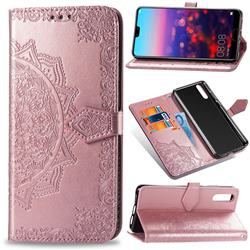 Embossing Imprint Mandala Flower Leather Wallet Case for Huawei P20 - Rose Gold