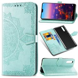 Embossing Imprint Mandala Flower Leather Wallet Case for Huawei P20 - Green