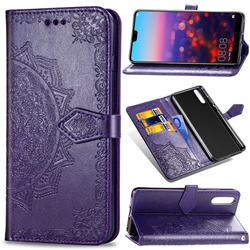 Embossing Imprint Mandala Flower Leather Wallet Case for Huawei P20 - Purple
