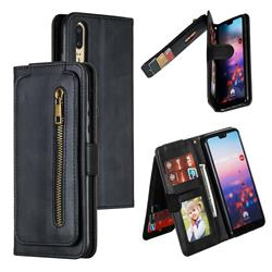 Multifunction 9 Cards Leather Zipper Wallet Phone Case for Huawei P20 - Black
