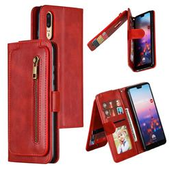 Multifunction 9 Cards Leather Zipper Wallet Phone Case for Huawei P20 - Red