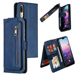 Multifunction 9 Cards Leather Zipper Wallet Phone Case for Huawei P20 - Blue