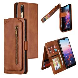 Multifunction 9 Cards Leather Zipper Wallet Phone Case for Huawei P20 - Brown