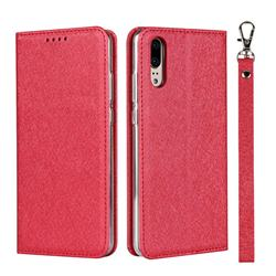 Ultra Slim Magnetic Automatic Suction Silk Lanyard Leather Flip Cover for Huawei P20 - Red