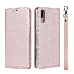 Ultra Slim Magnetic Automatic Suction Silk Lanyard Leather Flip Cover for Huawei P20 - Rose Gold