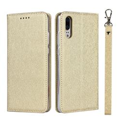 Ultra Slim Magnetic Automatic Suction Silk Lanyard Leather Flip Cover for Huawei P20 - Golden