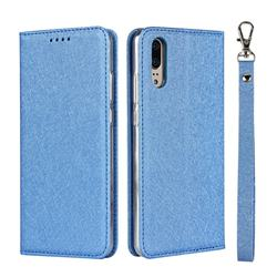 Ultra Slim Magnetic Automatic Suction Silk Lanyard Leather Flip Cover for Huawei P20 - Sky Blue