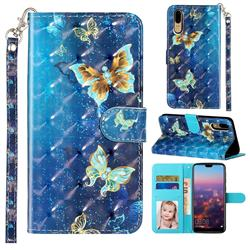 Rankine Butterfly 3D Leather Phone Holster Wallet Case for Huawei P20