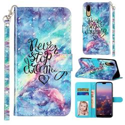 Blue Starry Sky 3D Leather Phone Holster Wallet Case for Huawei P20