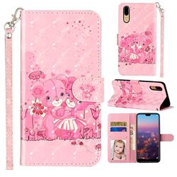 Pink Bear 3D Leather Phone Holster Wallet Case for Huawei P20