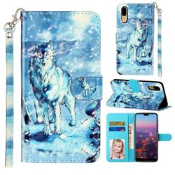 Snow Wolf 3D Leather Phone Holster Wallet Case for Huawei P20