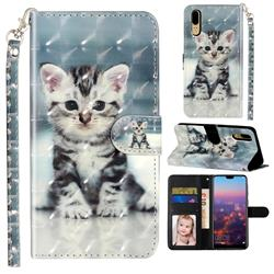 Kitten Cat 3D Leather Phone Holster Wallet Case for Huawei P20