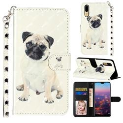 Pug Dog 3D Leather Phone Holster Wallet Case for Huawei P20