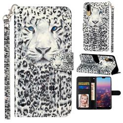 White Leopard 3D Leather Phone Holster Wallet Case for Huawei P20